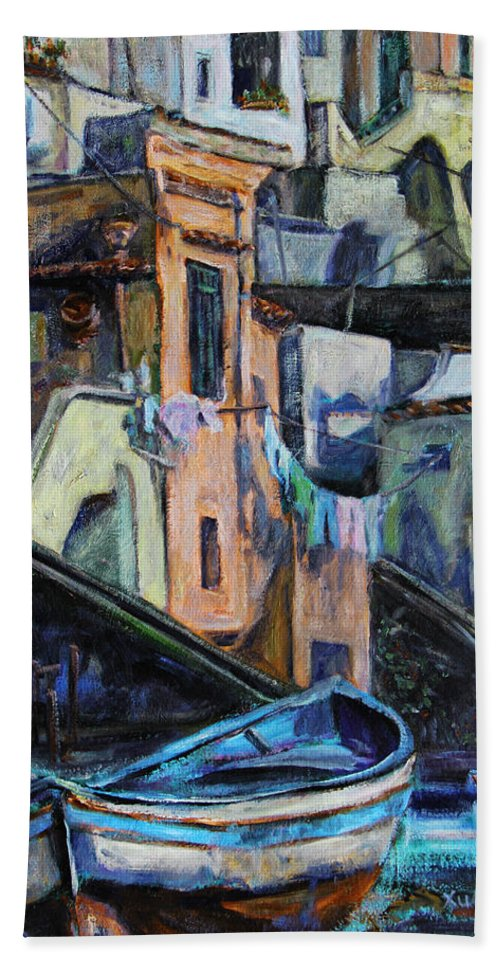 Scenery Beach Towel featuring the painting Boats In Front Of The Buildings I by Xueling Zou