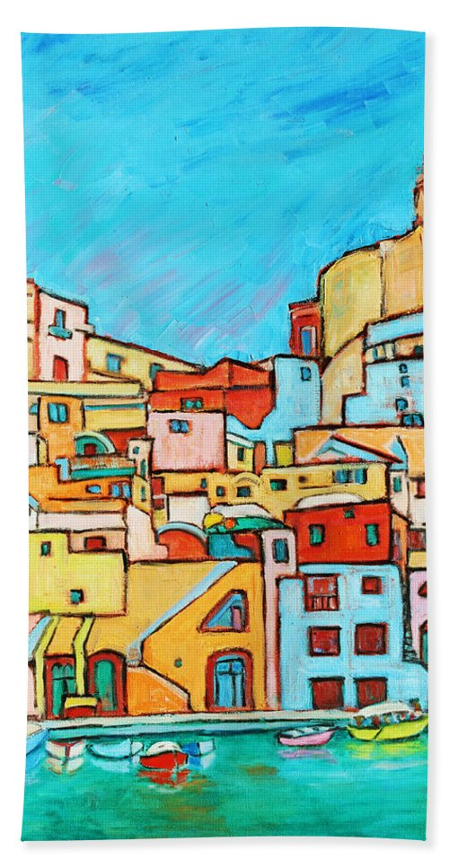 Campania Beach Towel featuring the painting Boats In Front Of The Buildings Vii by Xueling Zou