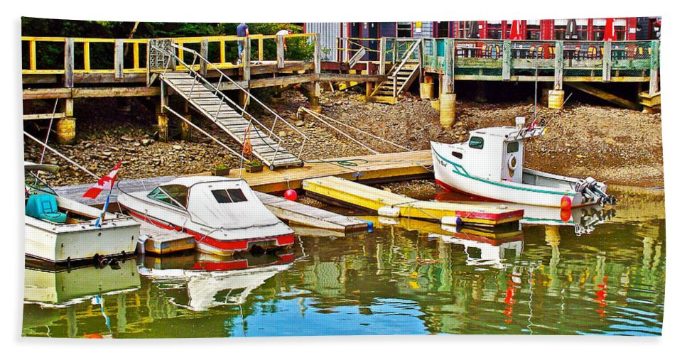 Boats In Halls Harbour Beach Towel featuring the photograph Boats In Halls Harbour-nova Scotia by Ruth Hager