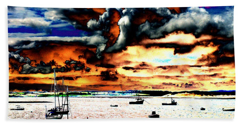 Boat Beach Towel featuring the photograph Boats by Tom Conway