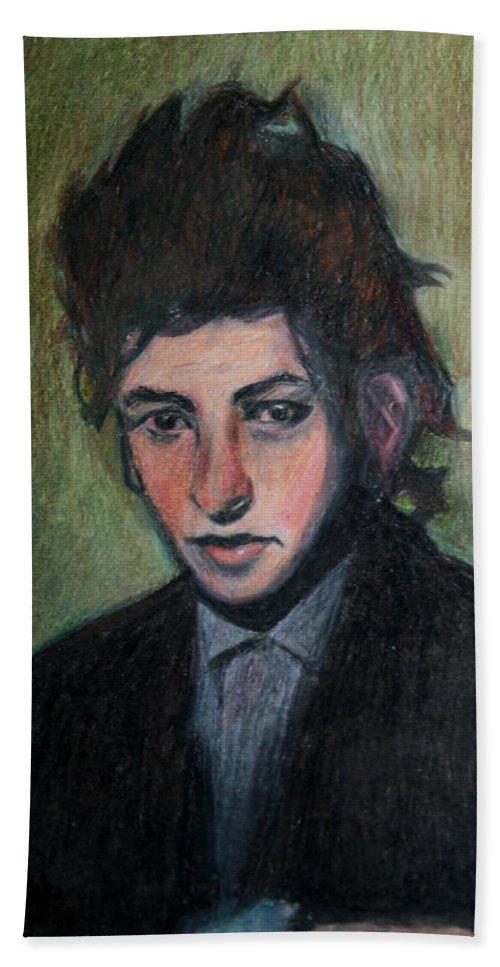 Bob Dylan Beach Towel featuring the drawing Bob Dylan Portrait In Colored Pencil by Neal Eslinger