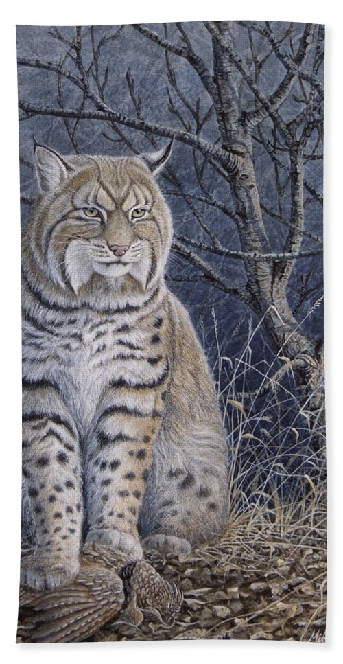Bobcat Beach Towel featuring the painting Bobcat by Mike Stinnett