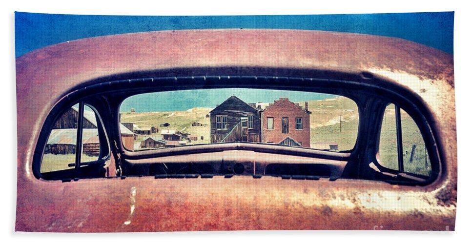 Car Beach Towel featuring the photograph Bodie Through Car Window by Jill Battaglia