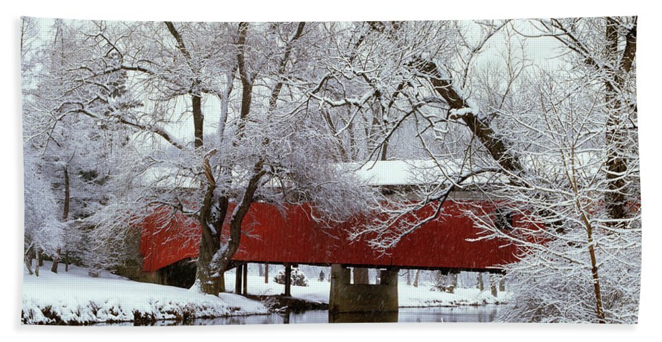 Photography Beach Towel featuring the photograph Bogarts Bridge Red Covered Bridge by Vintage Images