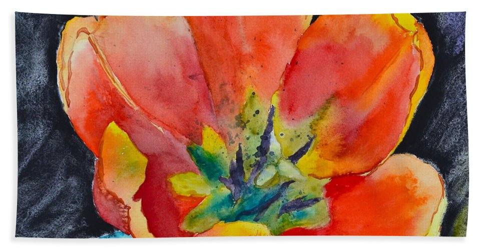 Tulip Beach Towel featuring the painting Bold by Beverley Harper Tinsley