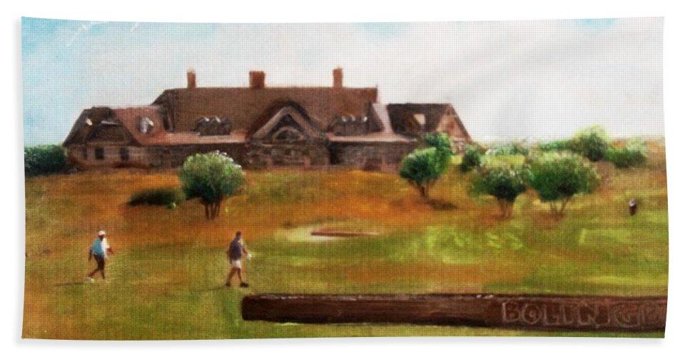 Plein Aire Beach Towel featuring the mixed media Bolingbrook Golf Club by Maria Leah Comillas