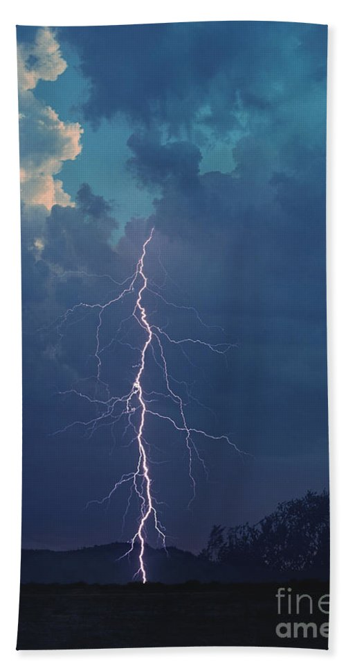 Lightning Beach Towel featuring the photograph Bolt Out Of The Blue by J L Woody Wooden