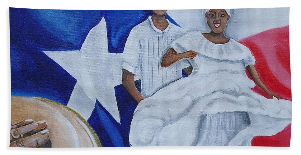 Puerto Rican Art Beach Towel featuring the painting Bomba by Melissa Torres