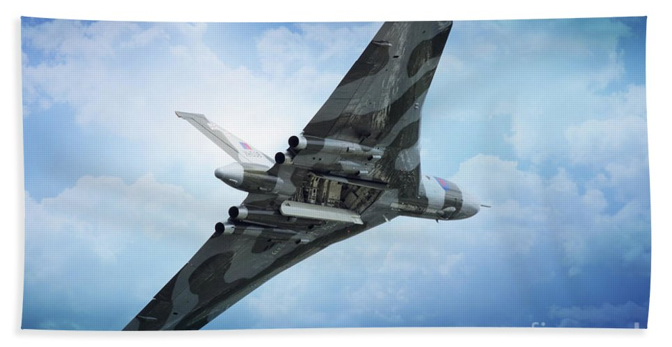 Vulcan Bomber Xh558 Beach Towel featuring the digital art Bombs Gone by J Biggadike