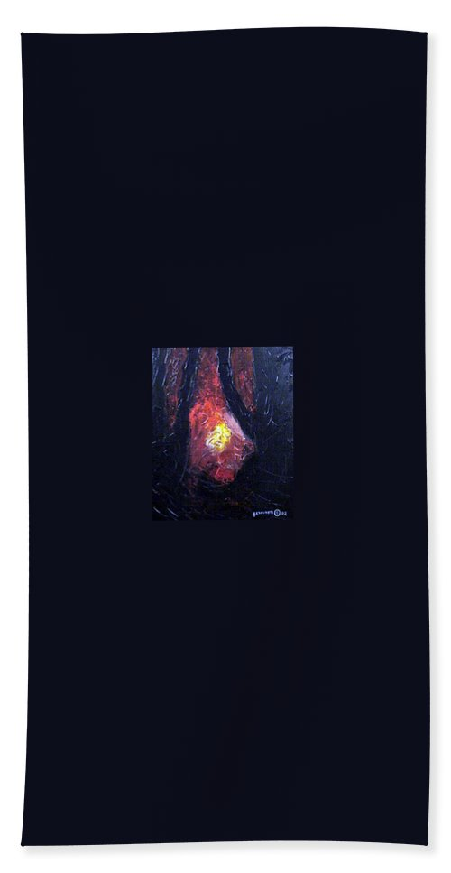 Landscape Beach Towel featuring the painting Bonefire by Sergey Bezhinets