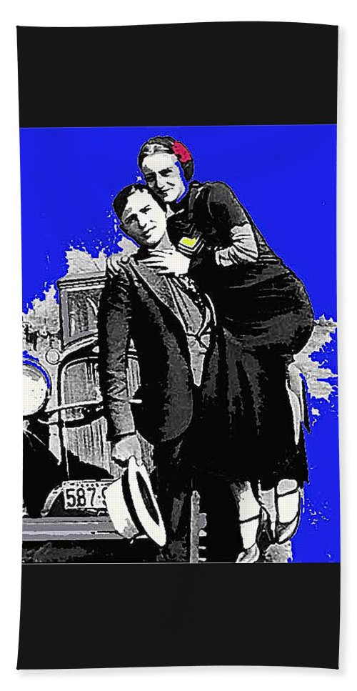 Bonnie And Clyde March 1933 1932 Ford V-8 B-400 Convertible Sedan Snapshot Color Added Beach Towel featuring the photograph Bonnie And Clyde March 1933 1932 Ford V-8 B-400 Convertible Sedan 1933-2013 by David Lee Guss