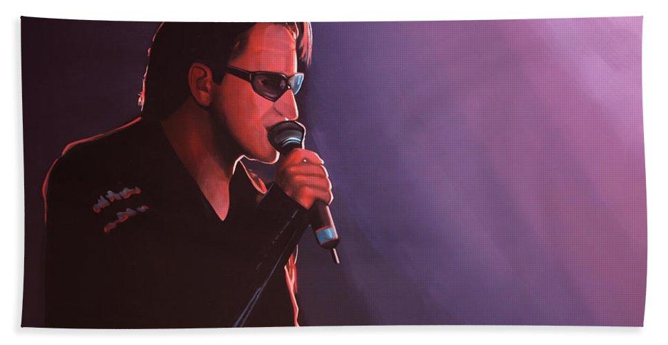 U2 Beach Towel featuring the painting Bono U2 by Paul Meijering