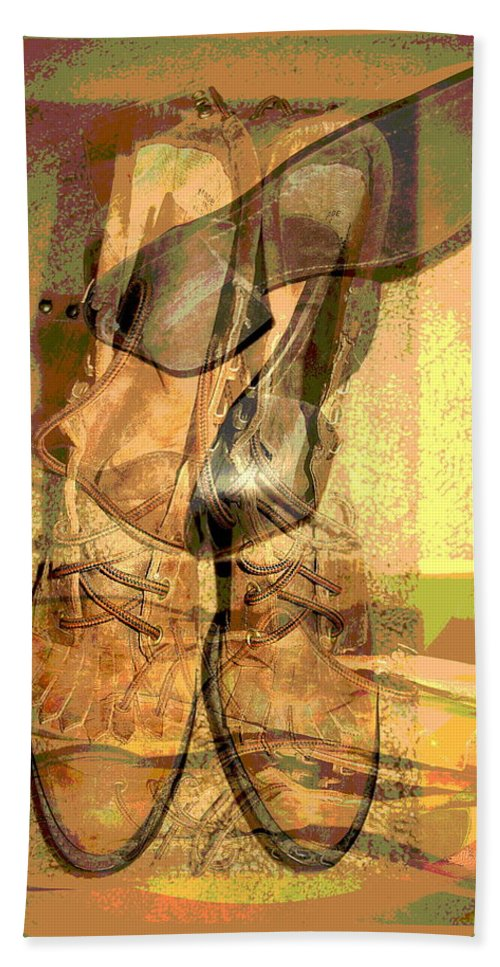 Boots Beach Towel featuring the digital art Boots by Joyce Dickens