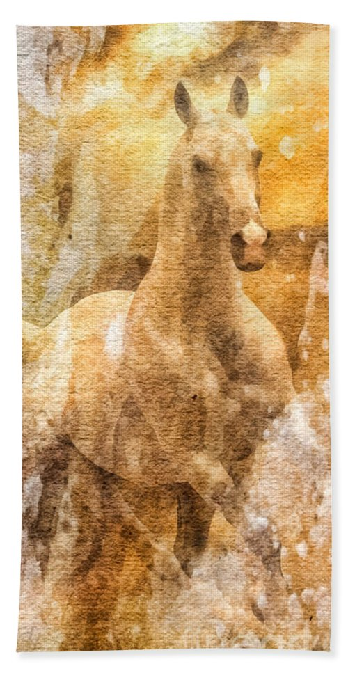 Born To Be Free Beach Towel featuring the painting Born To Be Free by Mo T
