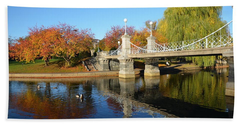 Boston Beach Towel featuring the photograph Boston Public Garden Autumn by Toby McGuire