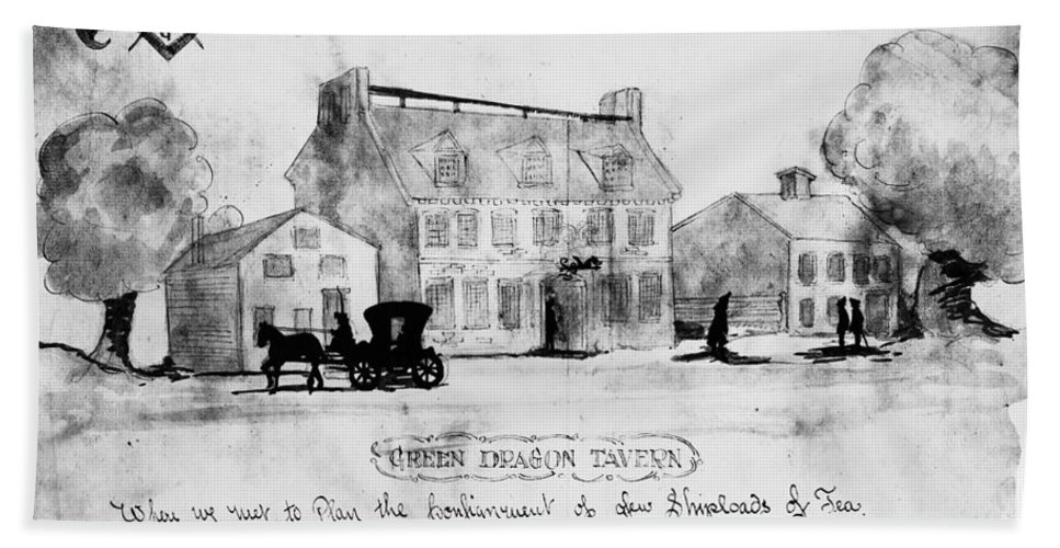 1773 Beach Towel featuring the photograph Boston: Tavern, 1773 by Granger