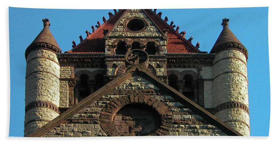 Architecture Beach Towel featuring the photograph Boston Unity Church 2871 by Guy Whiteley