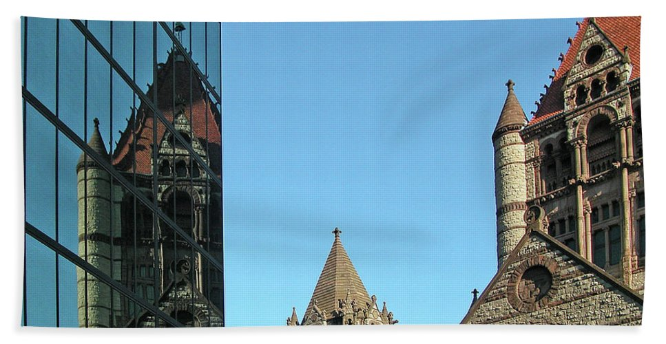 Architecture Beach Towel featuring the photograph Boston Unity Reflected 2853 by Guy Whiteley