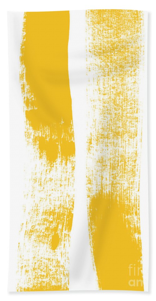 Minimal Abstract Painting Beach Towel featuring the painting Both Sides Now by Linda Woods
