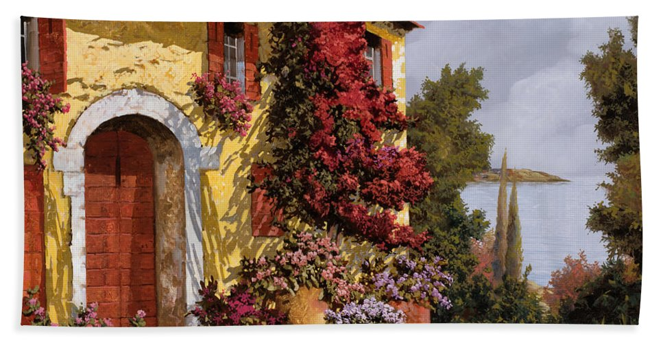 Bouganville Beach Towel featuring the painting Bouganville by Guido Borelli