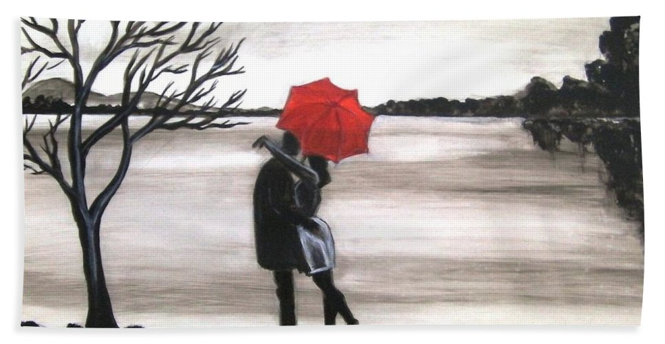 Love Valentine Romance Romantic Beach Towel featuring the painting Bound by Love by Manjiri Kanvinde