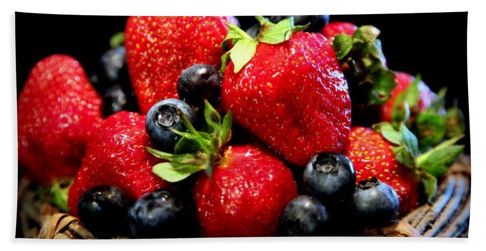 Organic.organic Fruits Beach Towel featuring the photograph Bountiful Basket by Karen Wiles