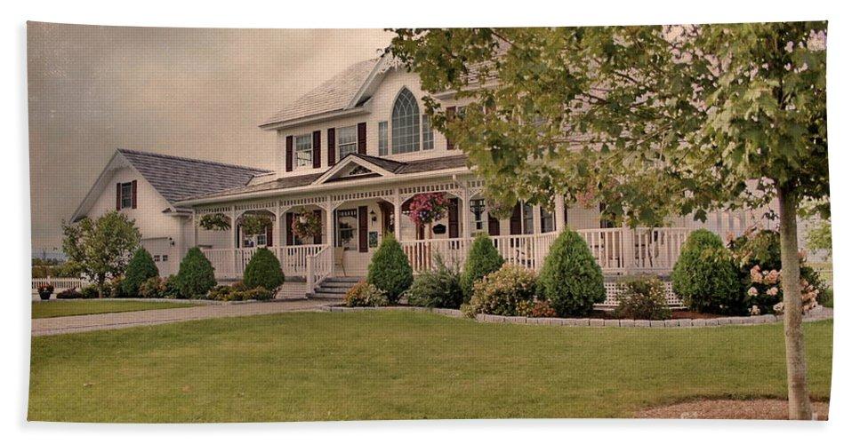 Colonial House Beach Towel featuring the photograph Bourbeau Custom Homes by Deborah Benoit