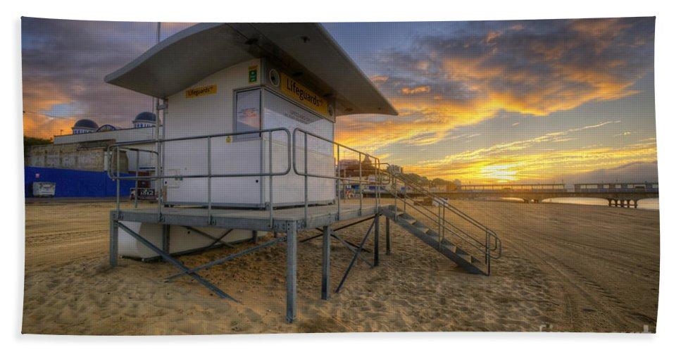Hdr Beach Towel featuring the photograph Bournemouth Beach Sunrise by Yhun Suarez