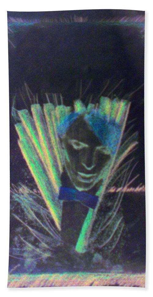 David Bowie Beach Towel featuring the drawing Bowie by Albert Puskaric