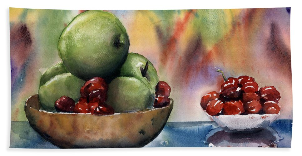 Apples And Cherries Beach Towel featuring the painting Apples In A Wooden Bowl With Cherries On The Side by Maria Hunt