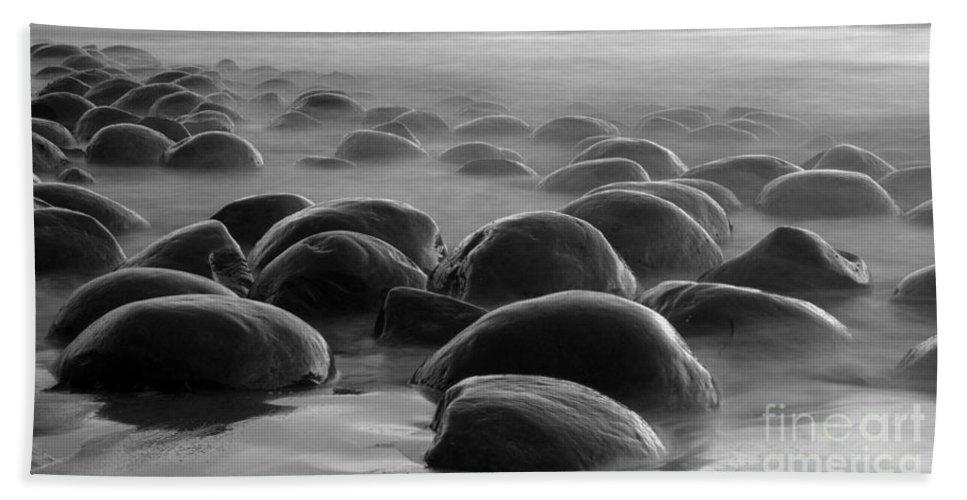 Bowling Ball Beach Beach Towel featuring the photograph Bowling Ball Beach Bw by Bob Christopher