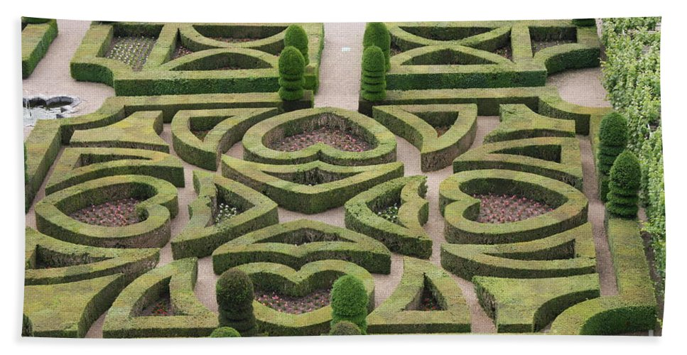 Garden Beach Towel featuring the photograph Boxwood Garden - Chateau Villandry by Christiane Schulze Art And Photography