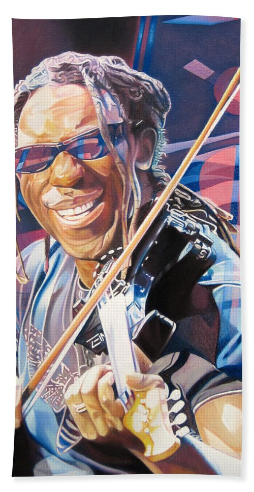 Boyd Tinsley Beach Towel featuring the drawing Boyd Tinsley And 2007 Lights by Joshua Morton