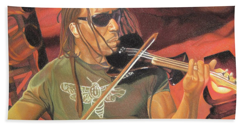 Boyd Tinsley Beach Towel featuring the drawing Boyd Tinsley At Red Rocks by Joshua Morton