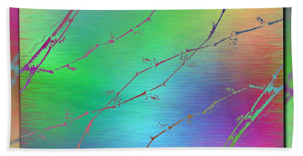 Abstract Beach Towel featuring the digital art Branches In The Mist 62 by Tim Allen
