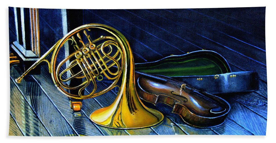 Musical Instrument Still Life Beach Towel featuring the painting Brass And Strings by Hanne Lore Koehler