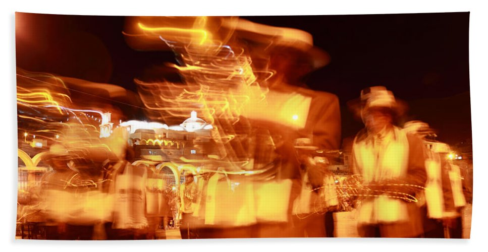 Brass Band Beach Towel featuring the photograph Brass Band At Night by James Brunker