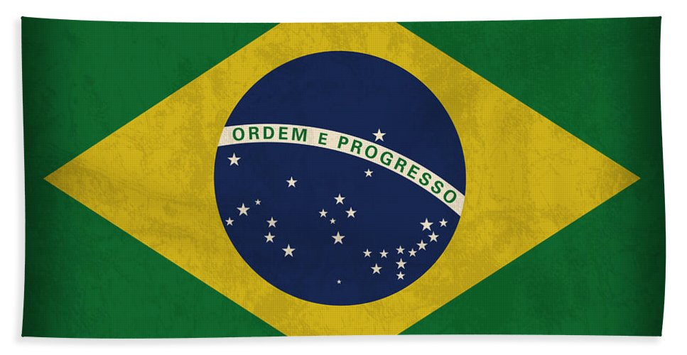 Brazil Flag Beach Towel featuring the mixed media Brazil Flag Vintage Distressed Finish by Design Turnpike