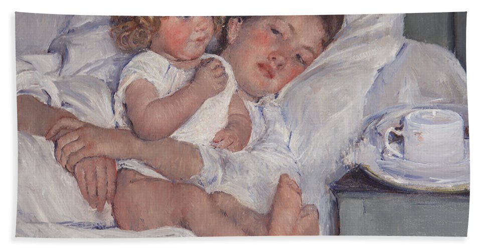 Mary Cassatt Beach Towel featuring the painting Breakfast In Bed by Mary Cassatt