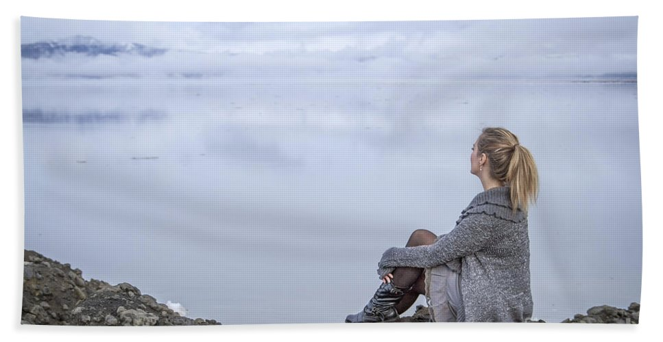 Girl Beach Towel featuring the photograph Breathe by Evelina Kremsdorf