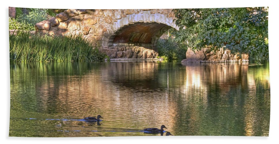 Kate Brown Beach Towel featuring the photograph Bridge At Stow Lake by Kate Brown