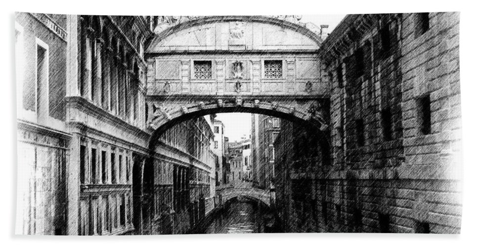 Bridge Of Sighs Beach Towel featuring the photograph Bridge Of Sighs Pencil by Jenny Hudson