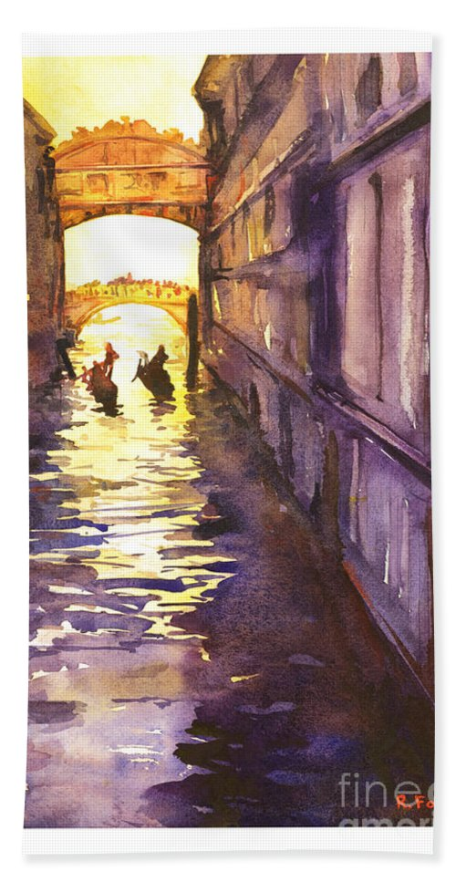 American Watercolor Society Beach Towel featuring the painting Bridge Of Sighs by Ryan Fox
