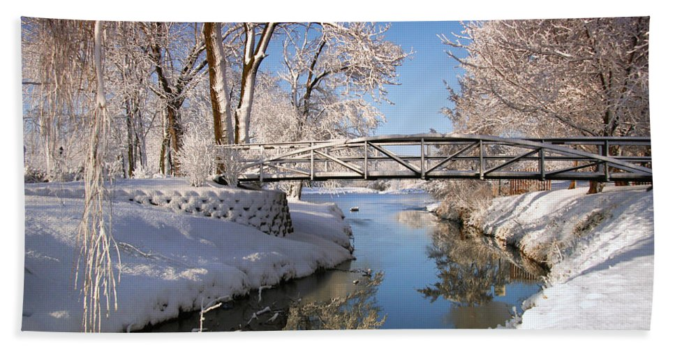 Snow Beach Towel featuring the photograph Bridge Over Icy Water by John Absher