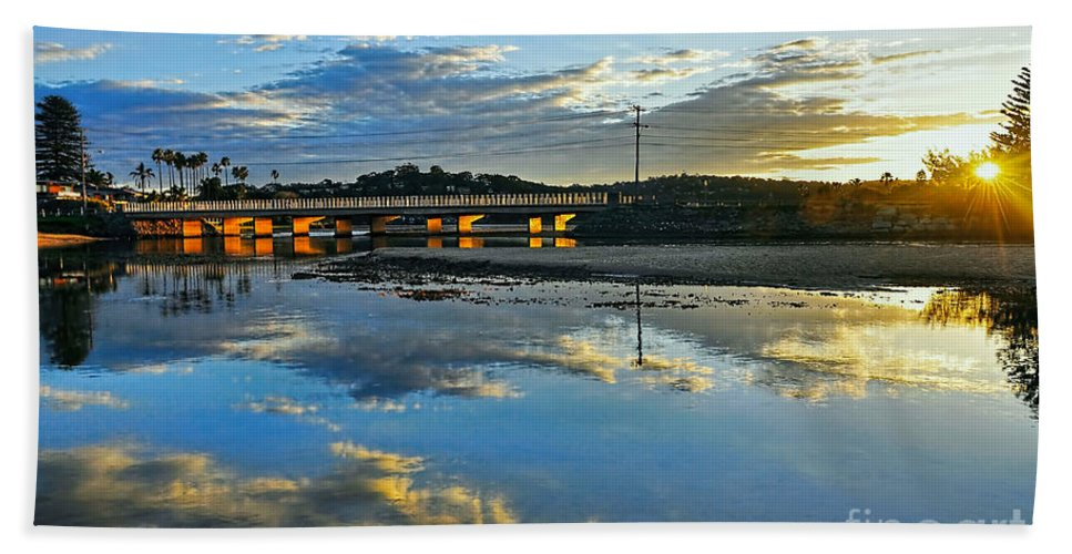 Photography Beach Towel featuring the photograph Bridge Over Lake At Sunset Narrabeen Lakes Sydney by Kaye Menner