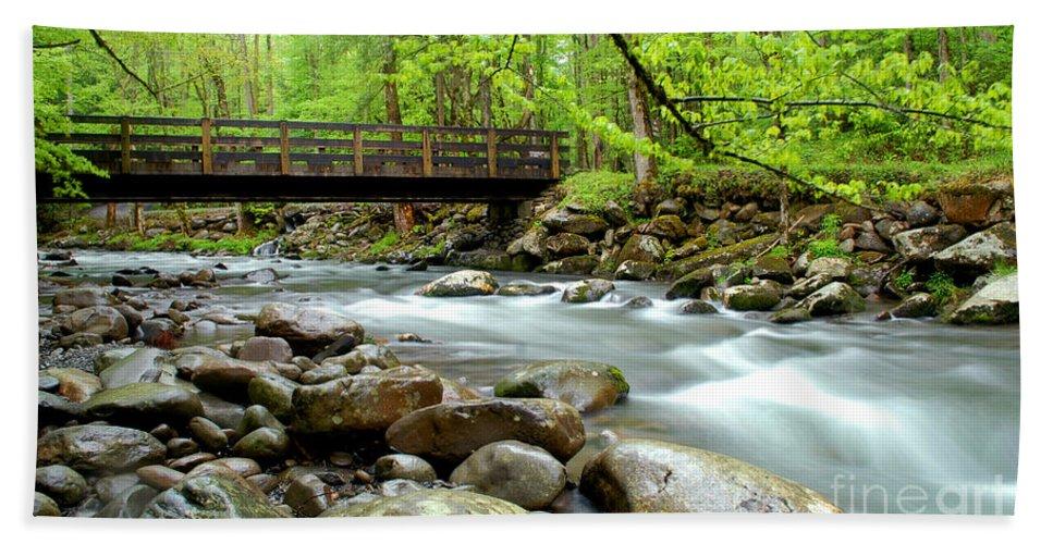 Bridge Beach Towel featuring the photograph Bridge Over Little Pigeon River by Nancy Mueller