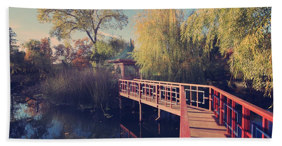 Chateau Montelena Beach Towel featuring the photograph Bridge To Zen by Laurie Search