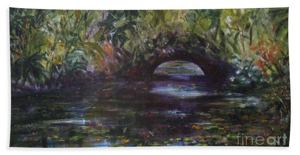 Waterlillies Beach Towel featuring the painting Bridgeatmckee by Rebecca Hendrix