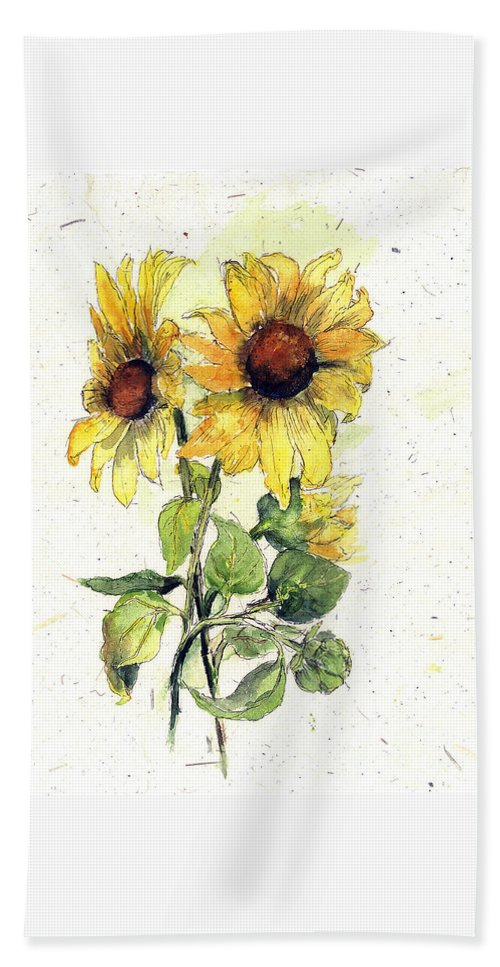 Flowers Beach Towel featuring the painting Roadside Treasures by Maria Hunt