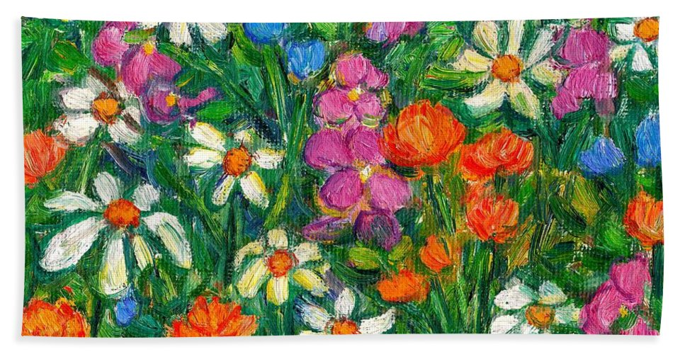 Flowers Beach Towel featuring the painting Bright Flowers by Kendall Kessler